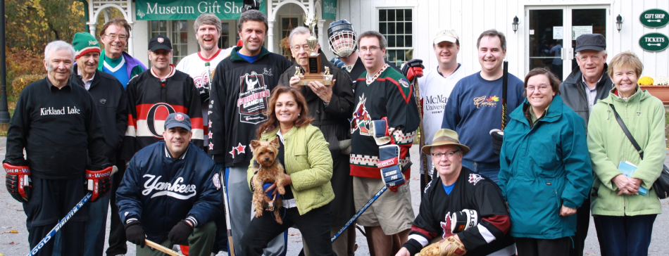 Members of the SIHR with Bill and the Fitsell Cup in Orillia in October of 2012 (Photo: SIHR)
